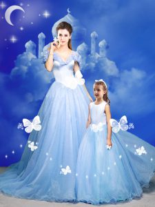 Light Blue Off The Shoulder Neckline Beading and Bowknot and Hand Made Flower Quinceanera Dresses Sleeveless Zipper