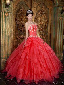 Gorgeous Strapless Appliqued Organza Quinceanera Gowns in Coral Red