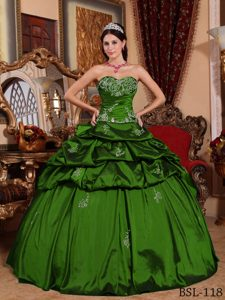 Green Appliqued Sweetheart Quinceanera Dress with Pick Ups in Taffeta