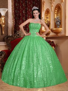 Exclusive Green Sweetheart Beaded Sweet 16 Dresses in Special Fabric