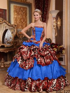 Most Popular Sky Blue and Leopard Strapless Quinceanera Gown Dress with Pick-ups