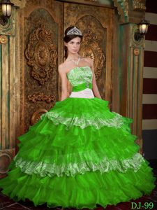 Strapless Zebra and Spring Green Organza Sweet Sixteen Dress with Layers for Cheap