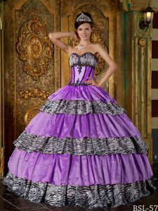 Sweetheart Lavender Taffeta and Zebra Quinceanera Dress with Appliques and Layers