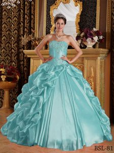 Cheap Aqua Blue Sweetheart Taffeta Quinceanera Dress with Pick-ups and Appliques