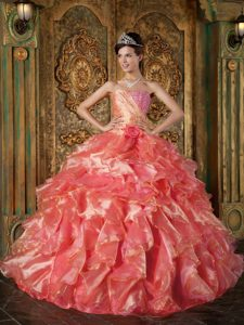 Orange Red Strapless Ball Gown Beaded Quinceanera Dress with Ruffles and Flowers
