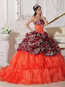 Best Sweetheart Brush Train Leopard and Orange Quinceanera Dresses with Pick-ups