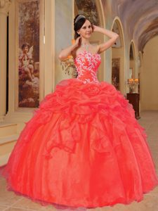 Orange Red Sweetheart Organza Quinceanera Dresses with Pick-ups with Appliques