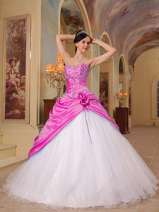 Beaded Sweetheart Pink Taffeta and Black Tulle Quinceanera Dresses with Pick-ups