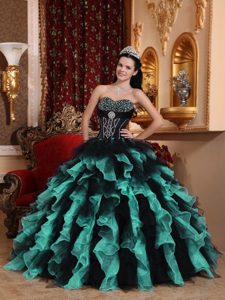 2014 Exclusive Ball Gown Black and Green Beaded Quinceanera Dress with Ruffles