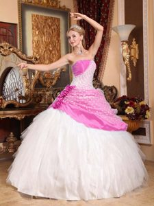 Traditional Cinderella Quinceanera Dress in Rose Pink and White With Dotted Fabric