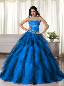 Sky Blue and Black Sweetheart Ball Gown Tulle Quinceanera Dresses with Appliques