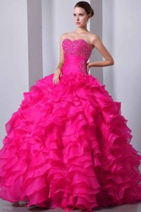 Hot Pink Sweetheart Ball Gown Organza Quinceanera Dress with Ruffles and Beading