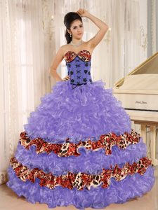 Sweetheart Lavender Organza and Leopard Quinceanera Dress with Ruffles for 2014