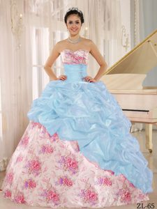 New Printed Sweetheart Beaded and Pick-ups Quince Dresses in Multi-color