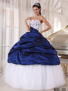 Classical Taffeta and Tulle Sweet 16 Quinceanera Dress in White and Blue