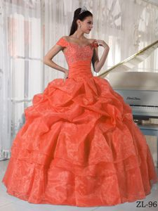 Orange Red Off-the-shoulder 2013 Popular Sweet 15 Dress with Beading