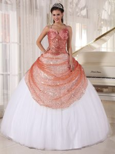 Rust Red and White Spaghetti Tulle Quinceanera Gowns with Sequins