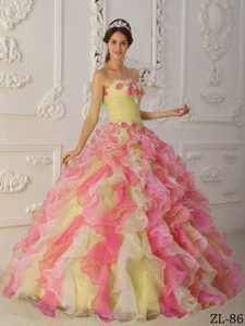 Impressive Ruffled Organza Floor-length Quinceanera Dress in Multi-Color