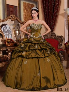 Classical Sweetheart Taffeta Quinceanera Gown Dresses in Olive Green