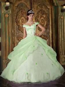 Light Green Off-the-shoulder Exquisite Sweet 15 Dresses with Appliques