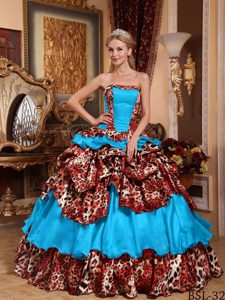 Dressy Strapless Floor-length Taffeta and Leopard Quinceanera Gown in Blue