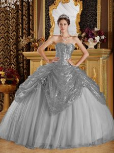Grey Sweetheart Sequined Quinceanera Dresses in Tulle with Hand Flowers