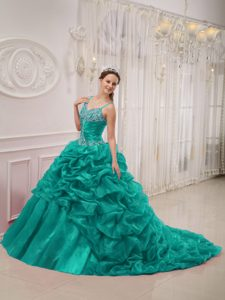 Turquoise Spaghetti Straps Quinceanera Gowns with Pick Ups in Organza
