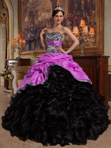 Strapless Taffeta and Organza Quinceanera Dress with Pick-ups and Ruffles