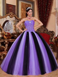 Perfect Sweetheart Multi-color Dresses for Quince in Tulle with Beading