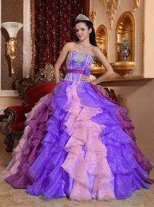 Multi-color Strapless Organza Quinceanera Dress with Ruffles and Appliques