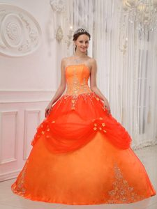 Orange Red Strapless Taffeta and Tulle Quinceanera Dress with Appliques
