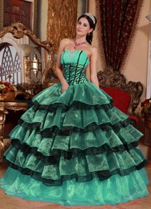 Sweetheart Multi-color Organza Dress for Gowns with Ruffles and Lace Up
