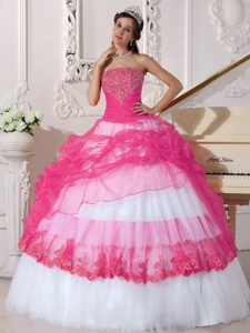 Hot Pink and White Taffeta and Organza Quinceanera Dress with Appliques
