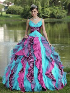 Colorful Spaghetti Straps Dress for Quince with Embroidery in Organza