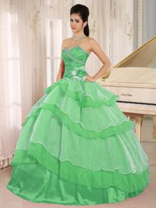 2013 Green Sweetheart Ruffled and Beaded Quinceanera Dress in Organza