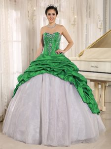 Luxurious Embroidery Dress for Quince with Pick-ups in Green and White