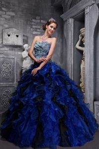 Blue Sweetheart Ruffled Quinceanera Dresses Made in Zebra and Organza