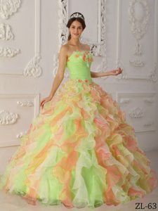 Multicolor Organza Quinceanera Dress with Hand Made Flowers and Ruffles