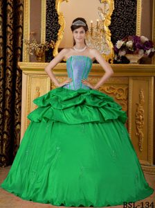 Pretty Green Strapless Taffeta Quinceanera Dress with Appliques and Pick-ups