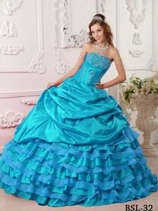 Aqua Blue Strapless Taffeta Beaded Quinceanera Dresses with Layers on Sale