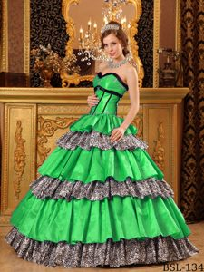 New Sweetheart Taffeta and Leopard Green Quinceanera Dress with Ruffles