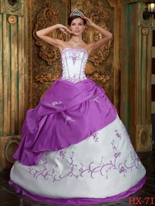 Popular Strapless Satin Quinceanera Dress with Embroidery for Custom Made