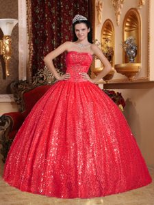Red Sweetheart Quinceanera Dress with Beading and Sequins on Promotion