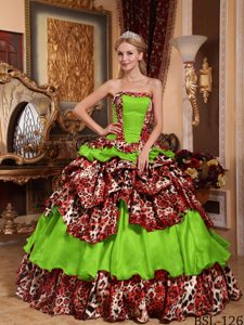 Spring Green Taffeta and Leopard Quinceanera Dresses with Pick-ups in 2014