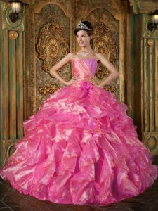 Beautiful Hot Pink Strapless 2013 Quinceanera Dress with Beading and Ruffles