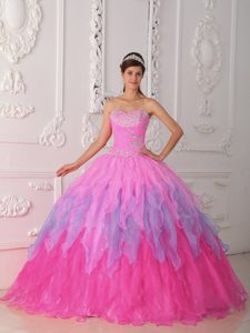 Pink Sweetheart Organza Beaded and Ruched Sweet 16 Quinceanera Dress