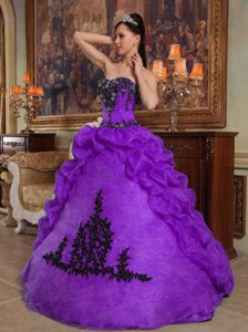 Purple Strapless Taffeta and Organza Beaded Quinceanera Dress with Pick-up