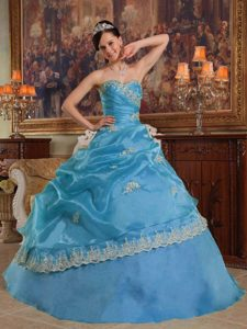 New Blue Sweetheart Organza Quinceanera Dress with Appliques and Pick-up