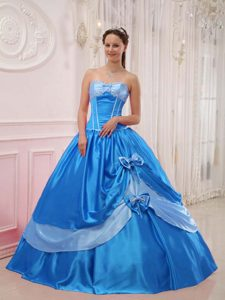 Elegant Sweetheart Satin Beaded Quinceanera Dress with Bowknot for Cheap