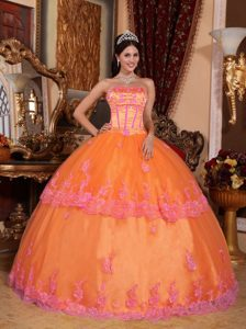 Attractive Orange Strapless Organza Lace Quinceanera Dress with Appliques